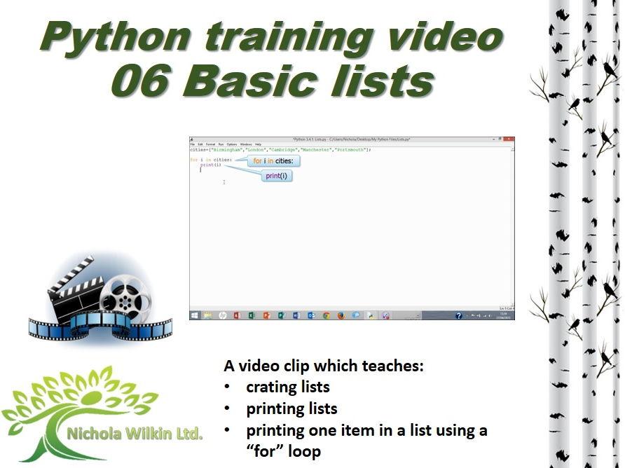 Python training video – 06 Lists