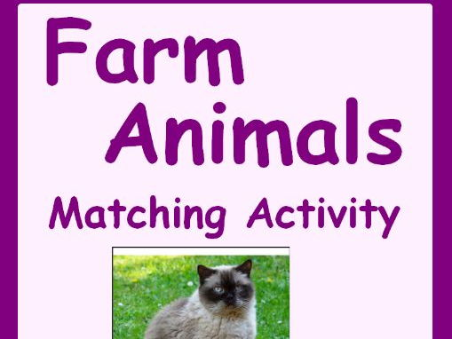 Autism Matching Activity-Farm Animals