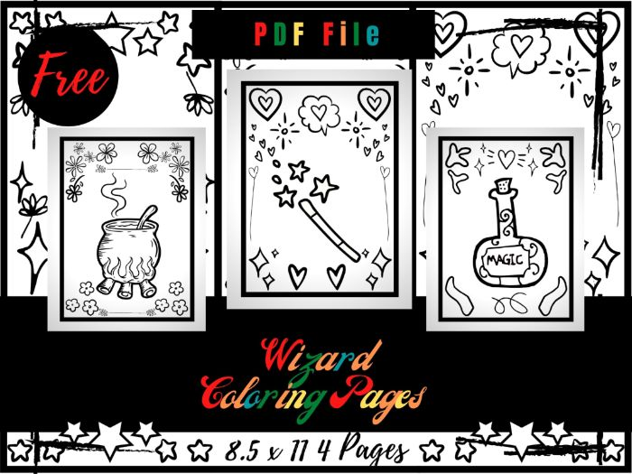 FREE Wizard Colouring Pages, Hat And Magic Wand Free Printable Colouring Sheets