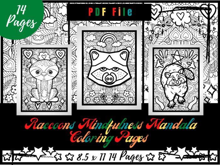 Raccoons Mindfulness Mandala Coloring Pages, Animals Coloring Printable Sheets