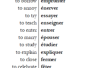 The 144 most important regular French ER verbs with test sheets both ways.