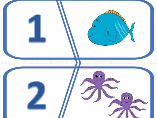 Number Puzzles 1 to 10 Ocean Theme