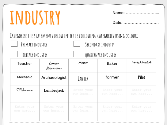 Industry Worksheet