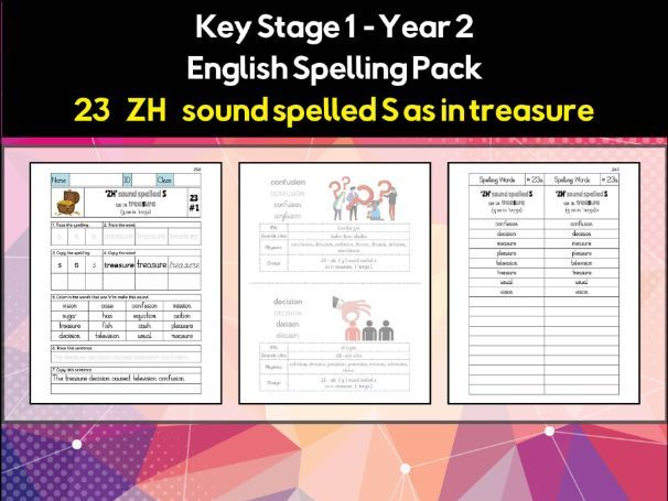 English Spelling and Phonics Pack - 'ZH' sound spelled S as in treasure (ʒ)