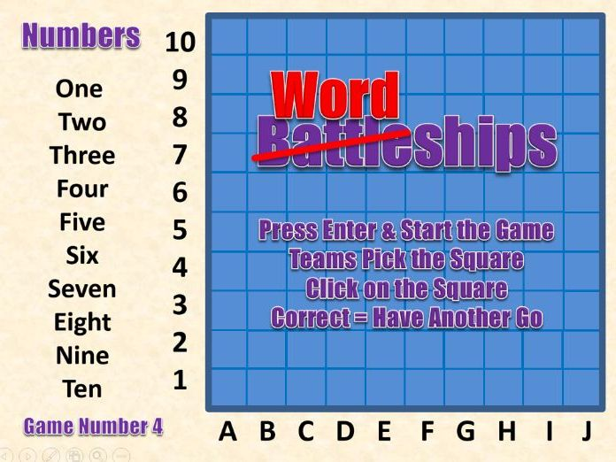 Wordships - Numbers 1-10