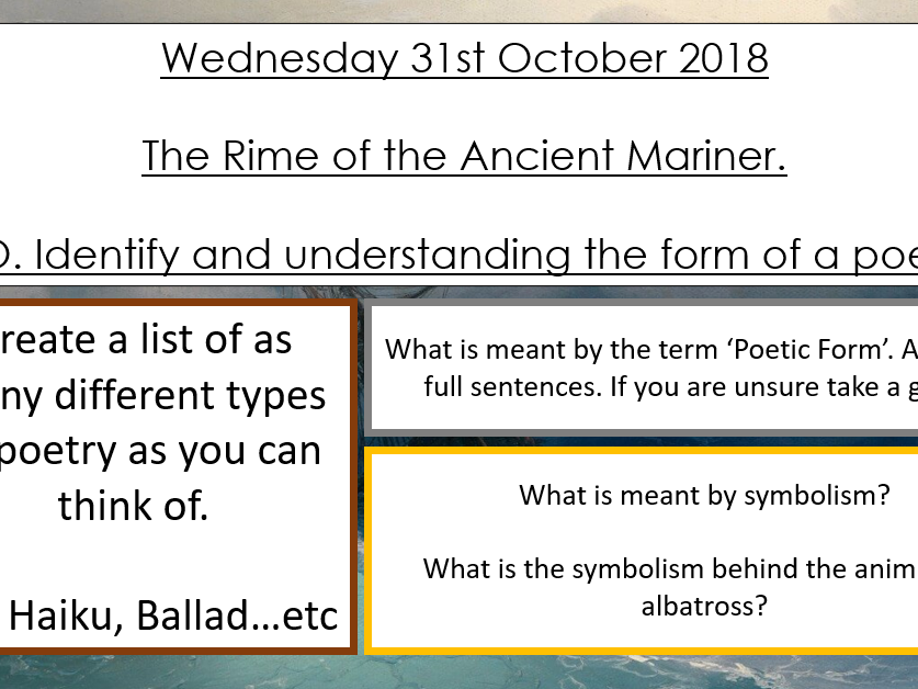 Rime of the Ancient Mariner - Year 8 Poetry