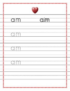 Dolch Kindergarten words trace worksheets Valentine's heart theme