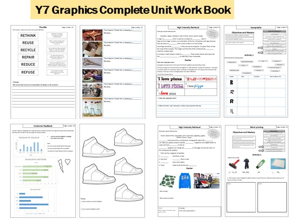 Y7 Graphics Workbook. Branding, Logos, Typography, CAD CAM 2D design, Sustainability, Block printing