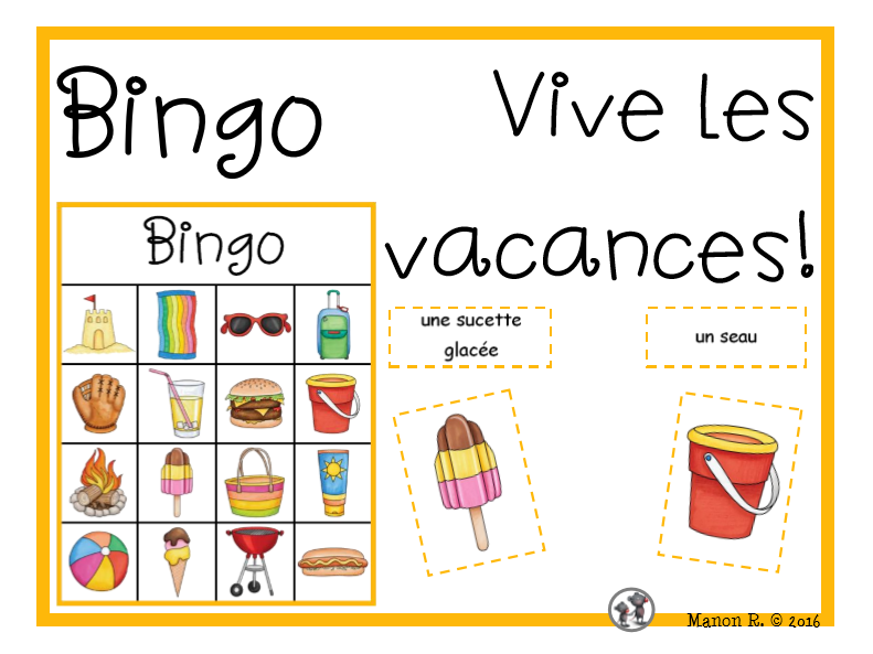 Bingo vive les vacances!  (Summer Break Bingo)