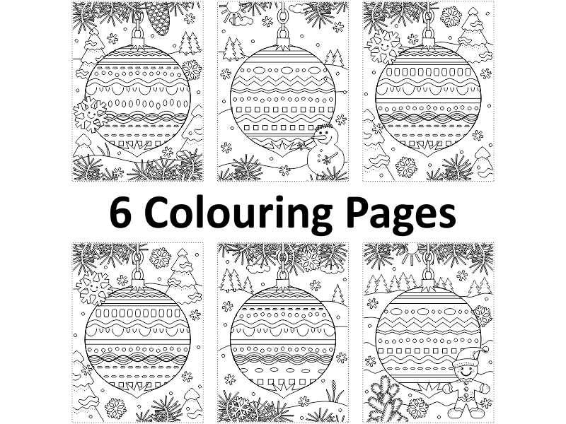 6 Colouring Pages with Decorated Ornaments