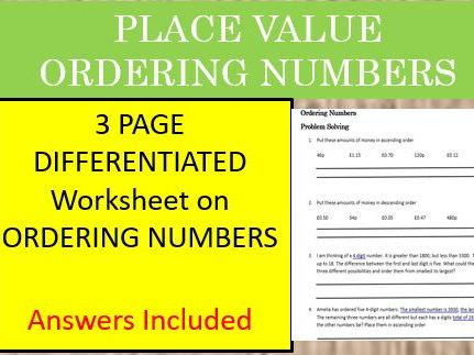 Place Value-ordering numbers differentiated worksheet