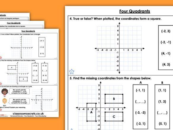 Year 6 Four Quadrants Autumn Block 4 Maths Homework Extension
