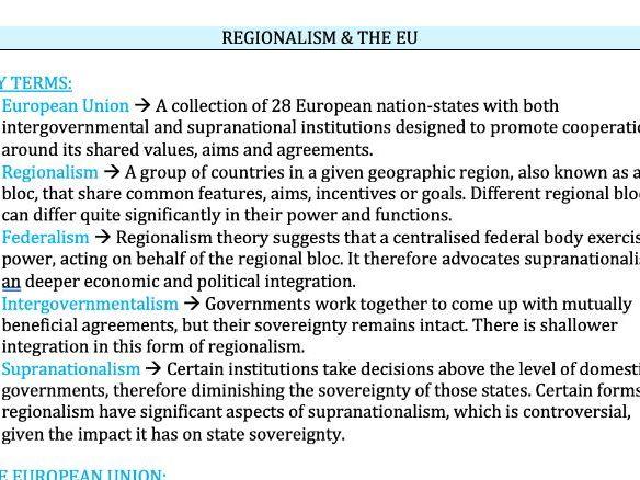 Regionalism & The EU - Edexcel Politics A-Level 9PL0