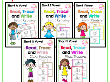 Read, Trace and Write Booklets- BUNDLE - All CVC Short Vowel -Mini Readers