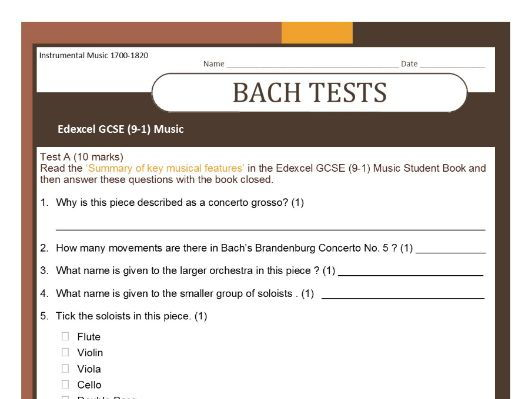 MUSIC EDEXCEL GCSE (9-1) Bach 'Brandenburg' TESTS on 'Summary of key musical features'