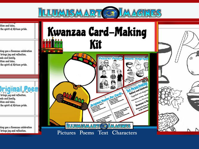 Kwanzaa Card-Making Kit! Poems, Pictures, Text, & Characters!