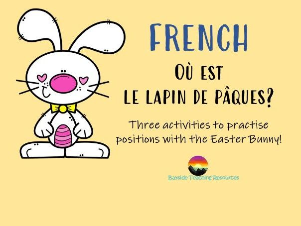 French worksheet on positions - Easter