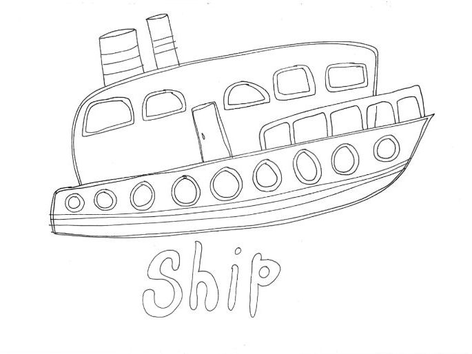 Ship: Transport and Travel: Colouring Page