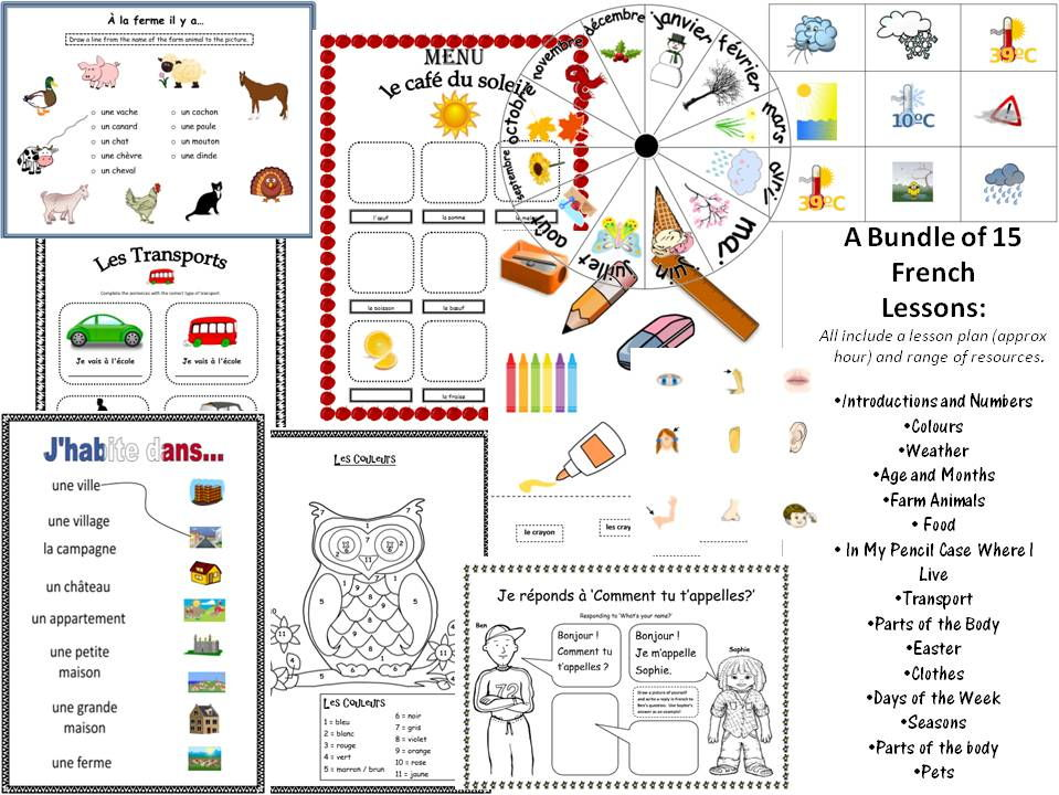 My French Mega Bundle! 15 Lessons and Resources KS1/2 Various Basic Topics