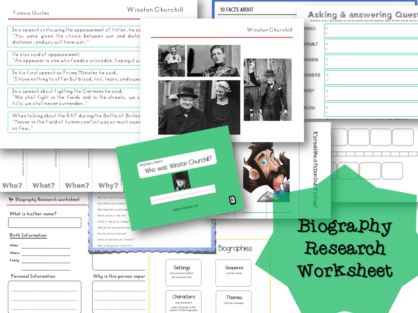Biography Research Report / Winston Churchill Biography worksheet