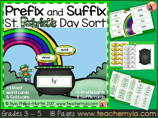 St. Patrick's Day Prefix and Suffix Matching Activity