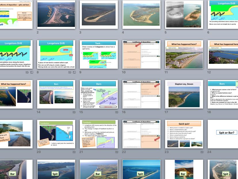 Coastal landforms of deposition: spits, bars and tombolos