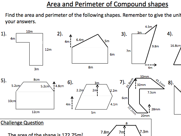 Area and Perimeter of Compound Shapes Worksheet - KS3 Mathematics