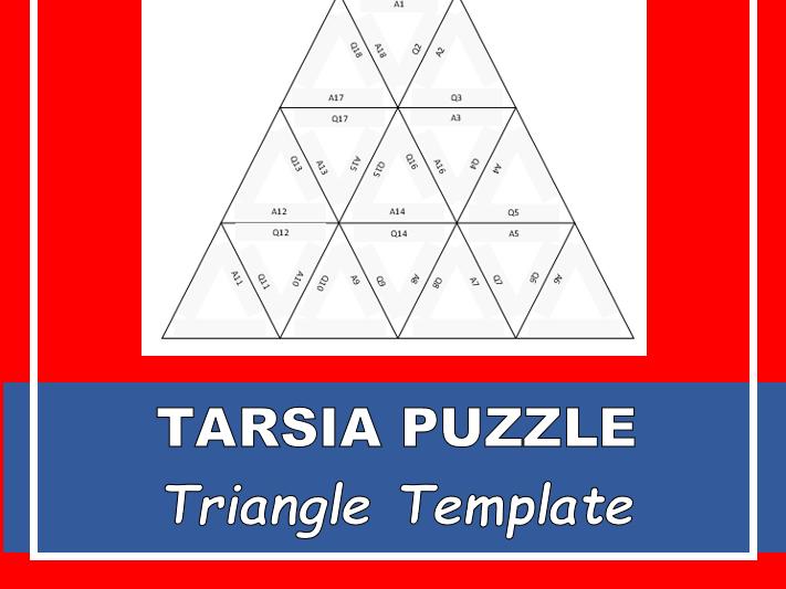 Tarsia Puzzle - TRIANGLE  (Editable Template)