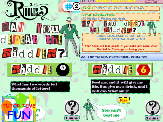 Tutor time Riddle challenge #2 Awesome!