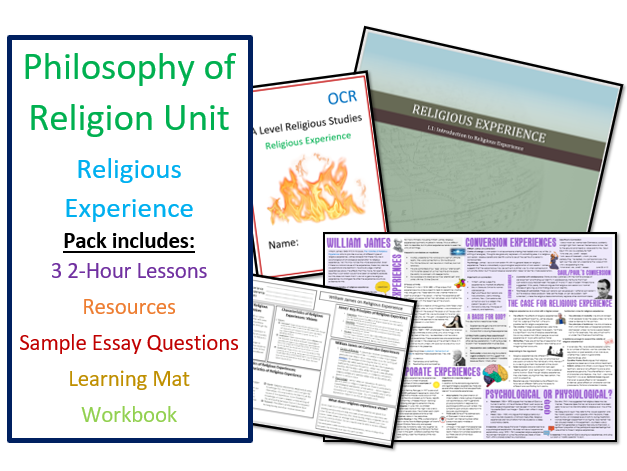 Philosophy of Religion: Religious Experience - Whole Unit of Lessons with Learning Mat and Workbook