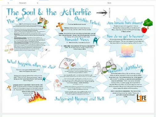 WJEC Eduqas Life and Death: Soul and the Afterlife Learning Mat