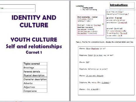 GCSE Booklet - Self and family unit - personal details and descriptions