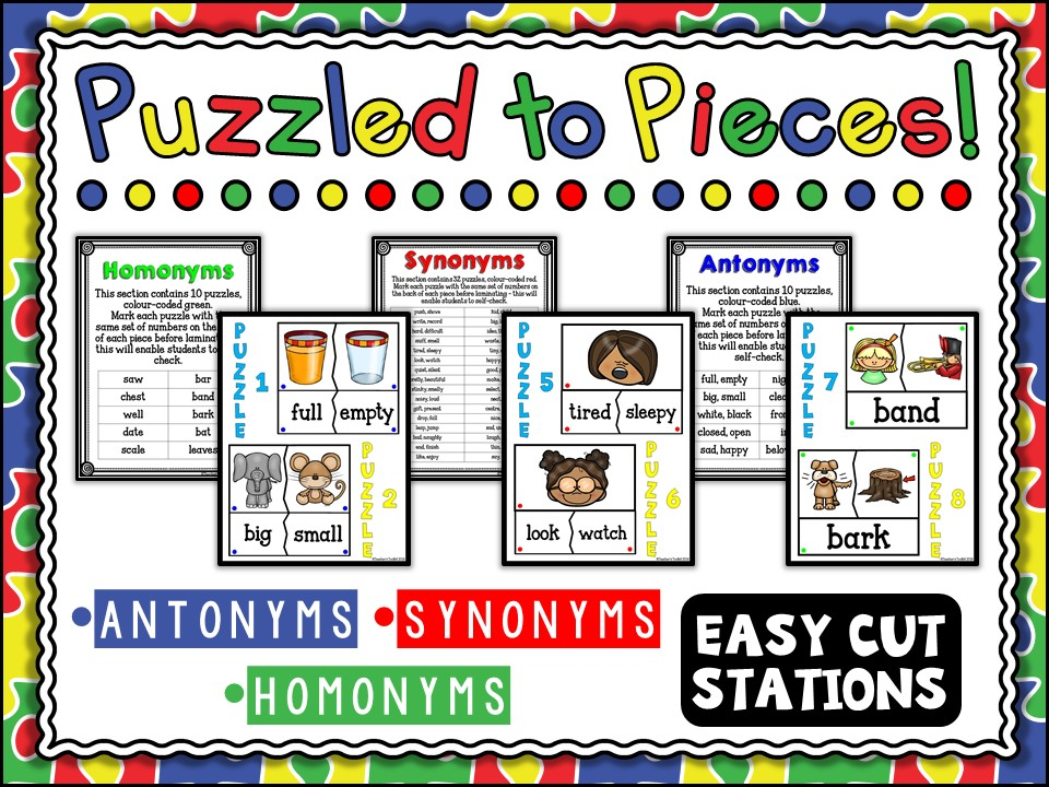 SPAG: Antonyms Synonyms Homonyms Station Puzzles