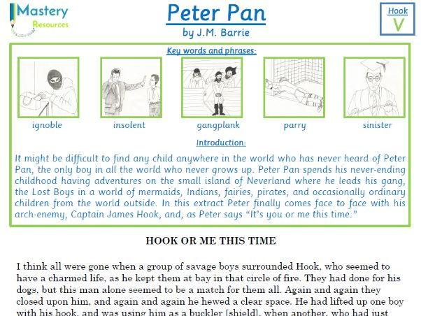 Peter Pan by J.M. Barrie Comprehension KS2