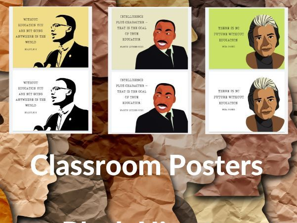 3X Black History Prints/Wall Posters. Educational Quotes. Malcolm X. Martin Luther King. Rosa Parks