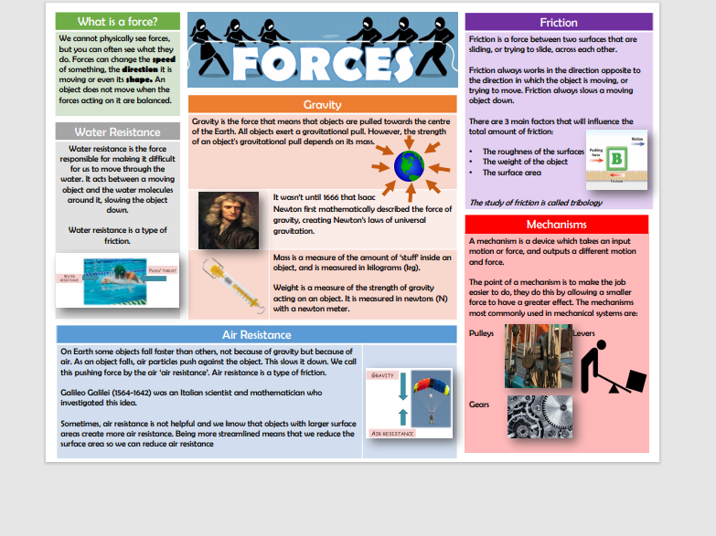 Science- Forces Knowledge Organiser Year 5/6