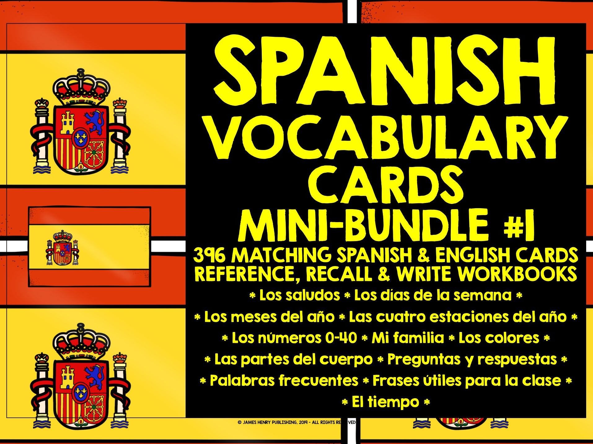 SPANISH VOCABULARY CARDS MINI-BUNDLE