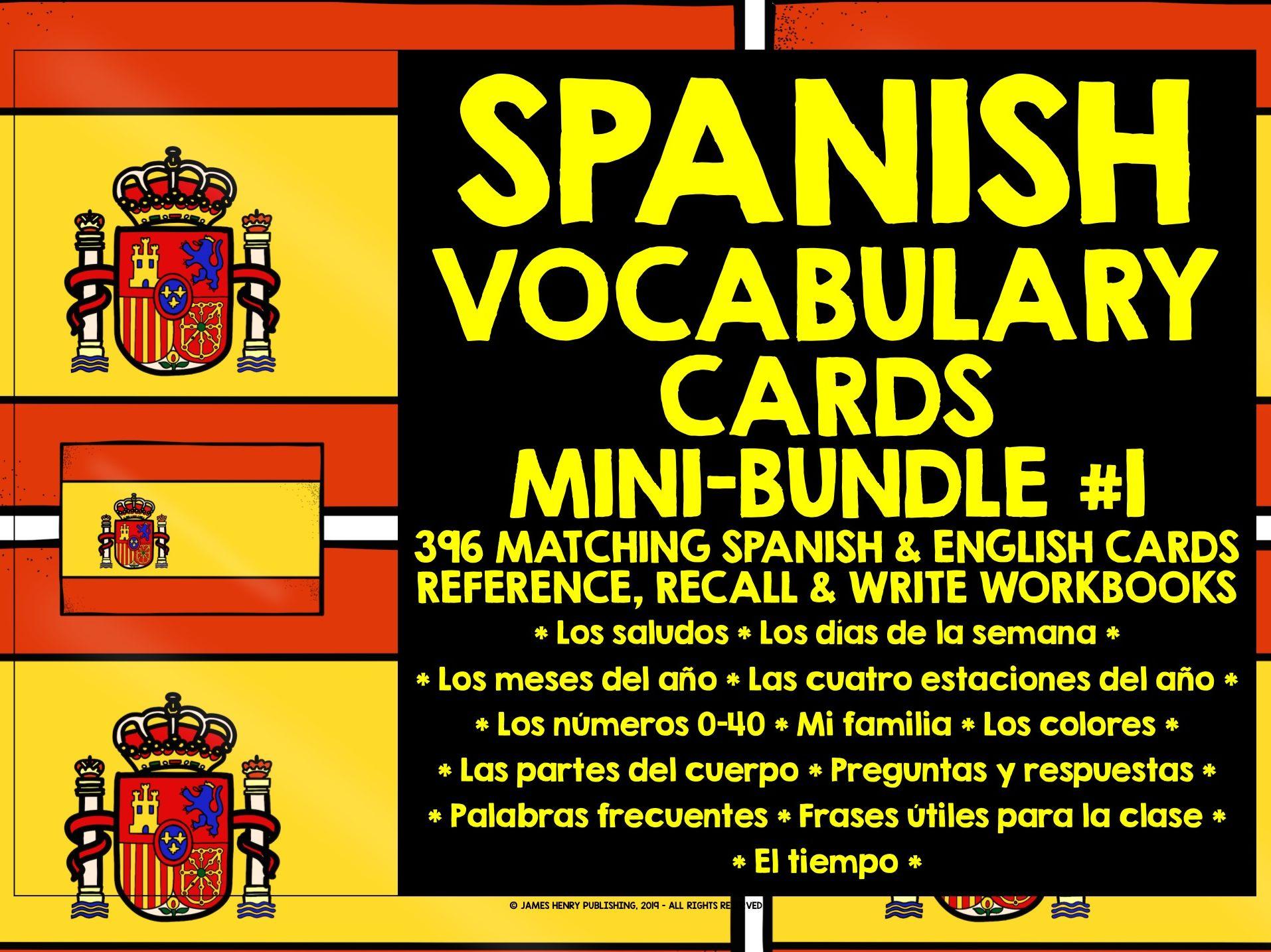 SPANISH VOCABULARY CARDS MINI-BUNDLE