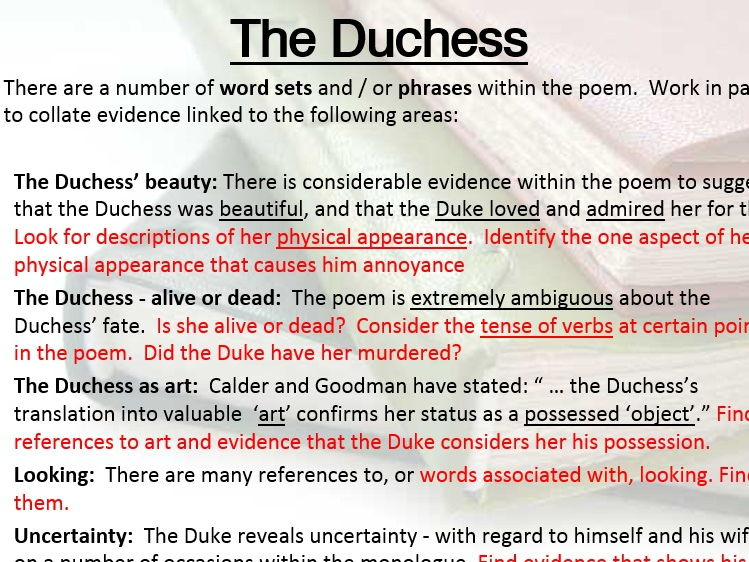 My last Duchess (Browning) - Unseen poetry lesson