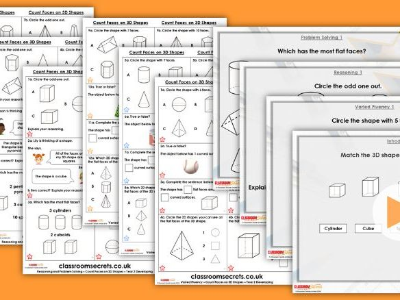 Year 2 Count Faces on 3D Shapes Autumn Block 2 Step 8 Lesson Pack