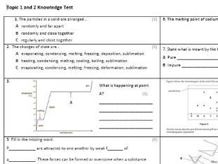 Edexcel CC5,6&7 Chemistry Knowledge Assessments