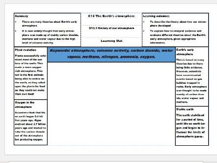 New AQA Science GCSE Chemistry Learning Mats – The Earth's atmosphere