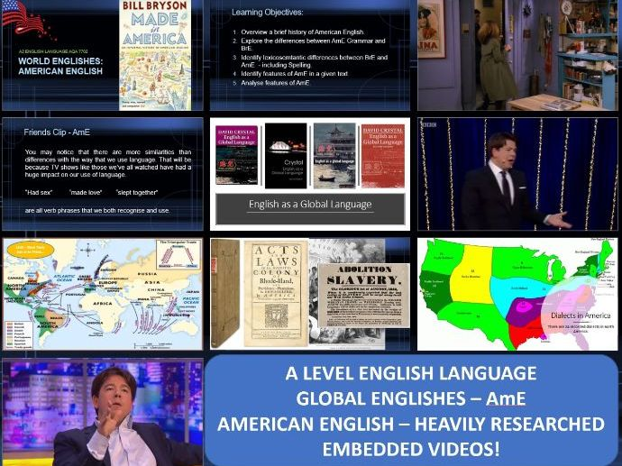 A level English Language - Global Englishes: American English (AmE) - Intro 3 hr session