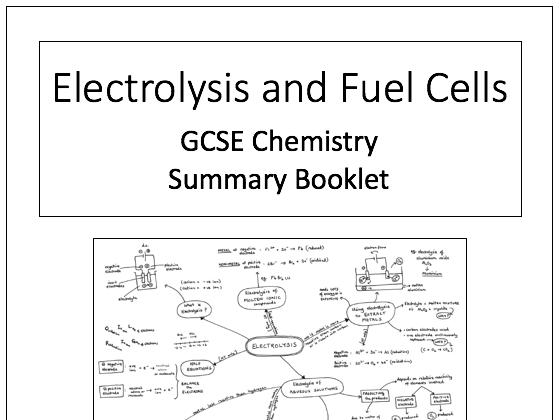 Electrolysis Knowledge Organiser/Summary Booklet: GCSE Chemistry