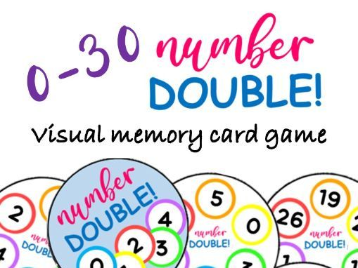 DOUBLE!  0-30 Number Matching Visual Memory Card Game