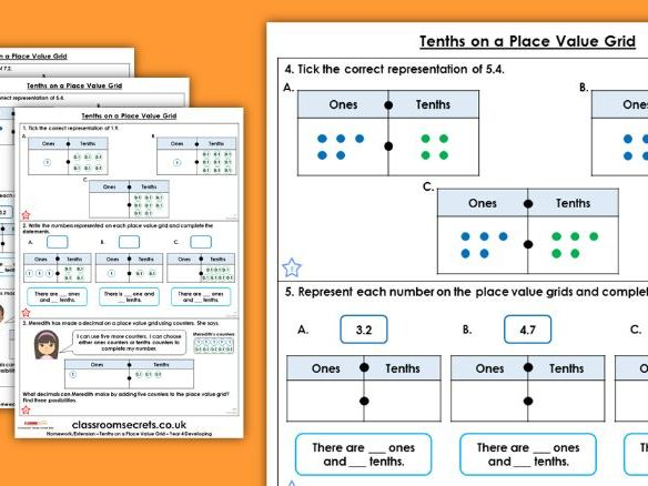 Year 4 Tenths on a Place Value Grid Spring Block 4 Maths Homework Extension