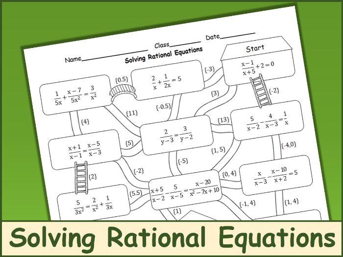 Solving Rational Equations Maze