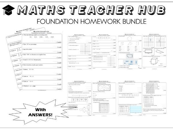 GCSE Foundation basic skills HOMEWORK 120 pages with answers (Home Learning)