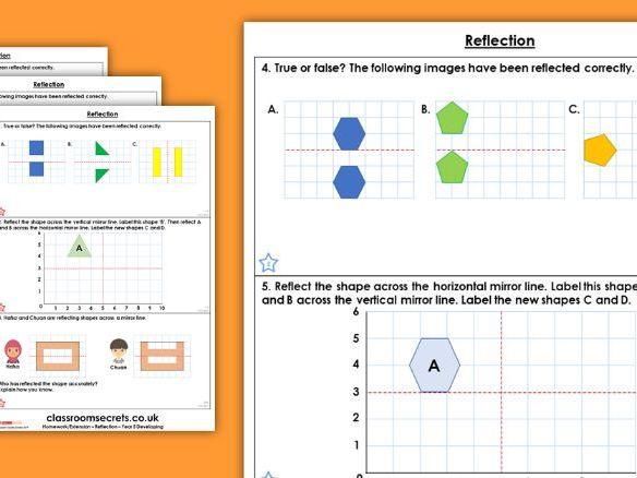 Year 5 Reflection Summer Block 3 Maths Homework Extension