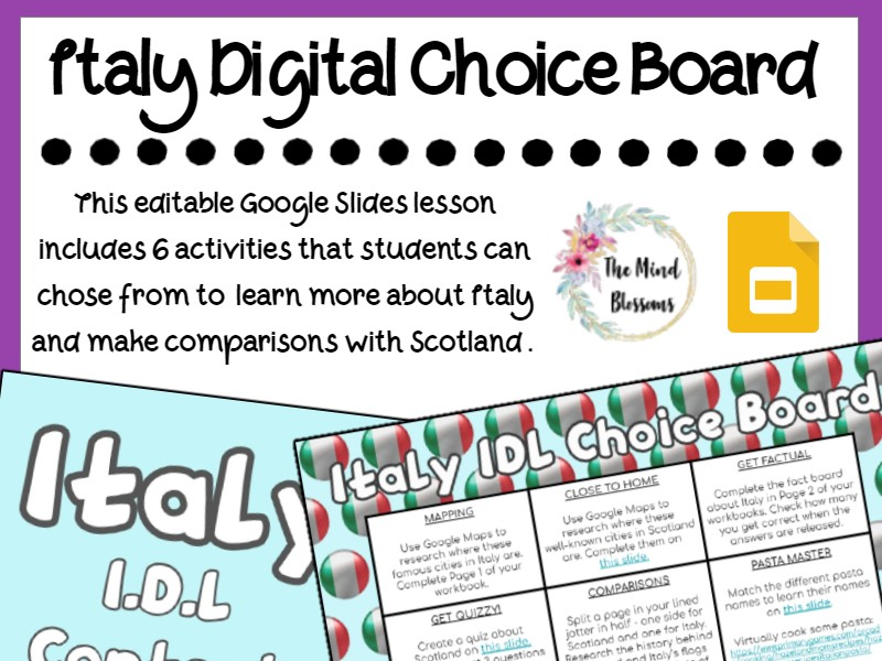 Italy Choice Board: Interdisciplinary Learning